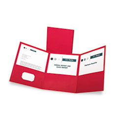 Oxford Tri-Fold Folder w/3 Pockets, Holds 150 Letter-Size Sheets, Red