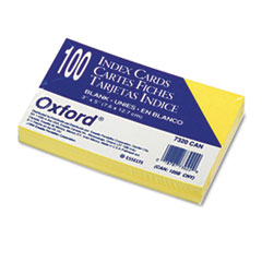 Oxford Unruled Index Cards, 3 x 5, Canary, 100/Pack