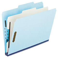 Pendaflex Pressboard Classification Folder, 2/5-Tab, Letter, Six-Section, Blue, 10/Box