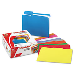 Pendaflex Reinforced Top Tab File Folders, 1/3 Cut, Letter, Assorted, 100/Box