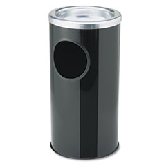 Ex-Cell Combination Sand Urn/Waste Receptacle, Round, Steel, Black/Chrome