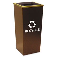 Ex-Cell Metro Collection Recycling Receptacle, Square, Steel, 18 gal, Brown