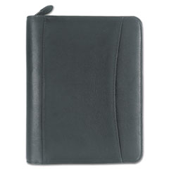 FranklinCovey Nappa Leather Ring Bound Organizer w/Zipper, 5-1/2 x 8-1/2, Black