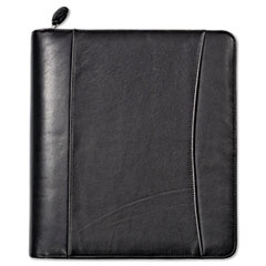 FranklinCovey Nappa Leather Ring Bound Organizer w/Zipper, 11-1/4 x 12 1/2, Black