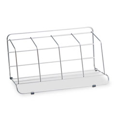 Four-Section Wire Catalog Rack, Metal, 16 1/2 x 10 x 8, Silver