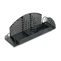 Fellowes Perf-Ect Multi Desk Organizer, Metal/Wire, 12 7/8 x 4 x 4 3/4, Black