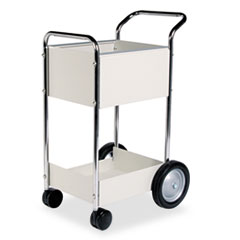 Fellowes Steel Mail Cart, 75-Folder Capacity, 20w x 25-1/2d x 39h, Dove Gray