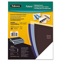Fellowes FUTURA PRESENTATION BINDING SYSTEM COVERS, 11 X 8-1/2, OPAQUE BLACK, 25/PACK