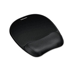 Fellowes Mouse Pad w/Wrist Rest, Nonskid Back, 8 x 9-1/4, Black