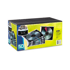 Fellowes Thin Jewel Case, Clear/Black, 50/Pack