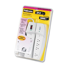 FEL 99070 Fellowes Eight-Outlet Split Surge Protector with Phone/Fax Protection FEL99070