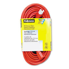Fellowes Indoor/Outdoor Heavy-Duty 3-Prong Plug Extension Cord, 1 Outlet, 50-ft., Orange