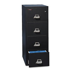 Four-Drawer Vertical File, 20-13/16w x 31-9/16d, UL 350° for Fire, Legal, Black