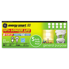 GE Compact Fluorescent Bulb, 13 Watt, T3 Spiral, Soft White, 5/Pack