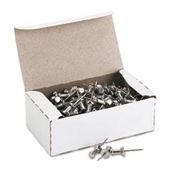 GEM Aluminum Head Push Pins, Aluminum, Silver, 5/8