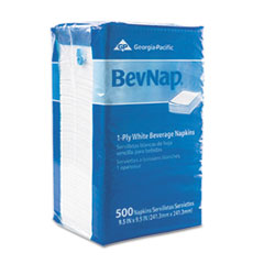 BevNap Beverage Napkins, Single-Ply, 9-1/2 x 9-1/2, White, 4000/Carton