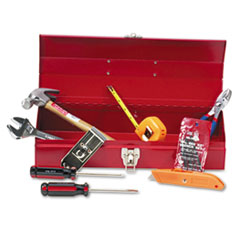 Great Neck 16-Piece Light-Duty Office Tool Kit in 16 Metal Box, Red