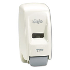 GOJO Bag-In-Box Liquid Soap Dispenser, 800ml, 5-3/4w x 5-1/2d x 11-1/8h, White