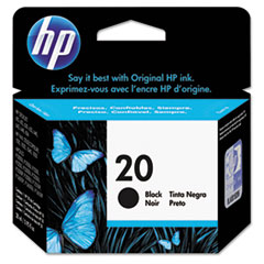 C6614D (HP 20) Ink Cartridge, 500 Page-Yield, Black