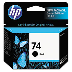 CB335WN (HP 74) Ink Cartridge, 200 Page-Yield, Black