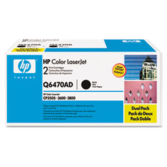 Q6470AD (HP 501A) Toner Cartridge, 6,000 Page Yield, 2/Box, Black