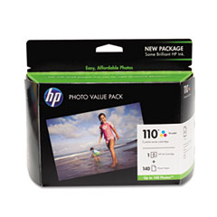 HP 110 Series Ink Cartridge/Photo Paper Value Pack w/140 Glossy 4 x 6 Sheets