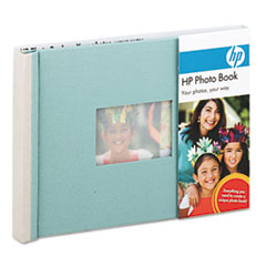 HP Expandable Photo Book, 25 Pages, 5 1/2 x 7 1/2, Sea Foam/Stone, Cloth Cover