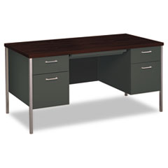34000 Series Double Pedestal Desk, 60w x 30d x 29-1/2h, Mahogany/Charcoal