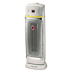 Honeywell 1500W Oscillating Ceramic Heater, 9 3/8 x 9 1/2 x 22 3/4, Chrome/Gray