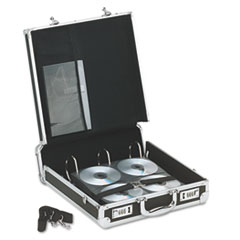 Vaultz Locking Media Binder, Holds 200 Disks, Black