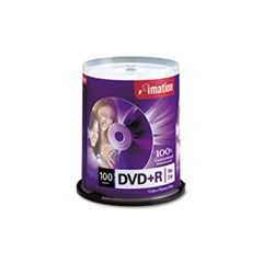 imation DVD+R Discs, 4.7GB, 16x, Spindle, Silver, 100/Pack