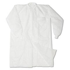 Impact Disposable Lab Coats, Spun-Bonded Polypropylene, Large, White, 30/Carton