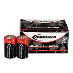 Innovera Alkaline Batteries, D, 12 Batteries/Pack
