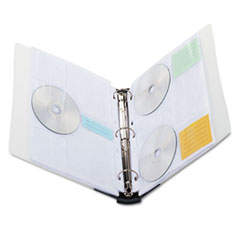 Innovera CD/DVD Three-Ring Refillable Binder, Holds 90 Disks, Clear/Midnight Blue