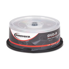 Innovera DVD+R Discs, 4.7GB, 16x, Spindle, Silver, 25/Pack
