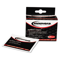 Innovera Alcohol-Free Cleaning Wipes, Cloth, 4-3/4 x 6-1/4, White, 20/Pack