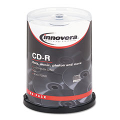 Innovera CD-R Discs, Hub Printable, 700MB/80min, 52x, Spindle, Matte White, 100/Pack