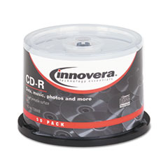 Innovera CD-R Discs Hub Printable Surface, 700MB/80min, 52x, Spindle, Matte White, 50/Pk