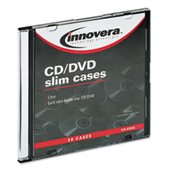 Innovera CD/DVD Polystyrene Thin Line Storage Case, Clear, 50/Pack