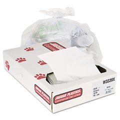 Jaguar Plastics Industrial Strength Commercial Can Liners, 33 gal, .9mil, White, 100/Carton