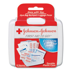 Johnson & Johnson® Red Cross® KIT 1ST AID TO GO MINI Mini First Aid To Go Kit, 12-Pieces, Plastic Case