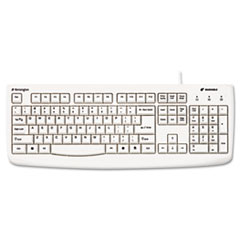 Kensington Pro Fit USB/PS2 Washable Keyboard, 104 Keys, White