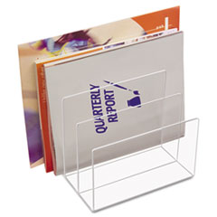 Kantek Clear Acrylic Desk File, Three Sections, 8 x 6 1/2 x 7 1/2, Clear