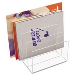 Kantek Clear Acrylic Desk File, Three Sections, 8 x 6 1/2 x 7 1/2, Clear