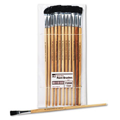 Charles Leonard Long Handle Easel Brush, Size 12, Natural Bristle, Flat, 12/Pack
