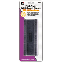 Charles Leonard Peel-Away Dry Erase Board Eraser w/12 Disposable Pads, Felt, 5