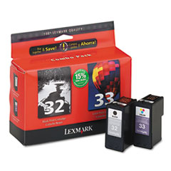 Lexmark 18C0532 (32, 33) Ink, 390 Page-Yield, 2/Pack, Black; Tri-Color