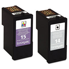 Lexmark 18C2239 (14,15) Ink, 150; 175 Page-Yield, Black; Tri-Color, 2/Pk