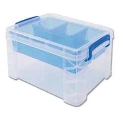 "Advantus BOX STORAGE 5 COMP CLR SUPER STACKER DIVIDED STORAGE BOX, 5 SECTIONS, 7.5"" X 10.13"" X 6.5"", CLEAR-BLUE"