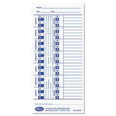 Lathem Time Time Card for Lathem Models 900E/1000E/1500E/5000E, White, 100/Pack